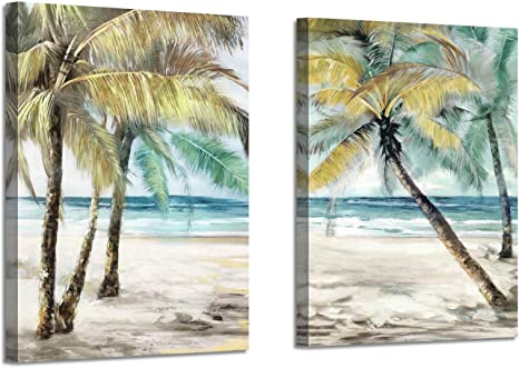 Amazon Com Beach Palm Trees Wall Art Abstract Coastal Seascape Artwork Print On Canvas Pictures For Living Room 18 W X 24 H X 2 Pcs Multi Sized Posters Prints