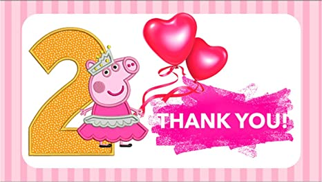 Peppa Pig Theme Second Birthday Thank You Tags 10 For