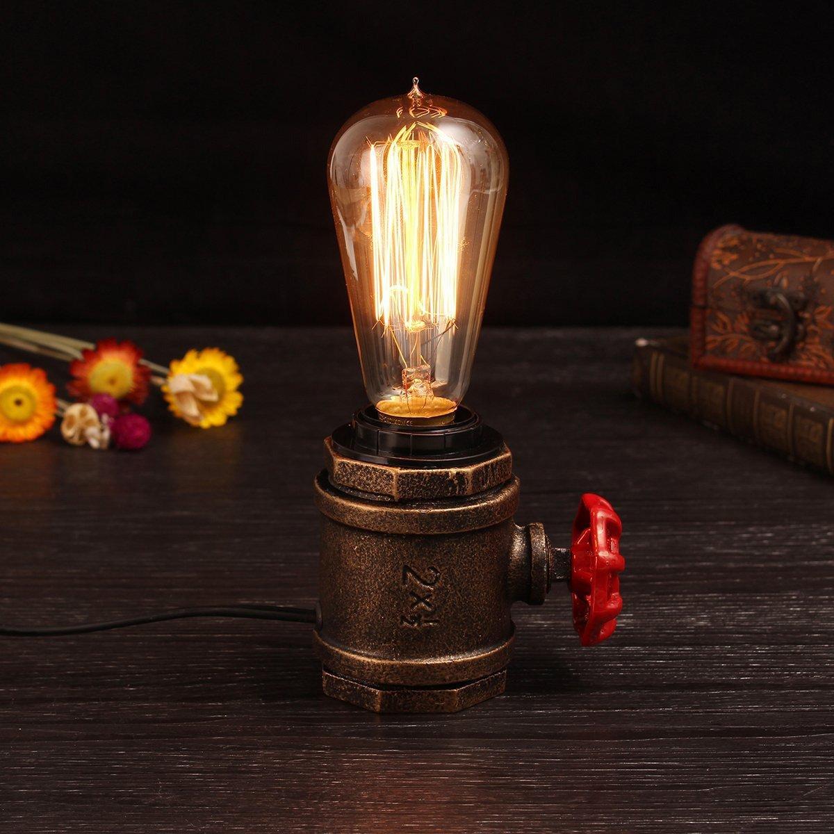 Illuminazione Vintage Edison Steampunk Lampada da tavolo in metallo ferro battuto Luci Retro Golden Industrial E27 Lampada da tavolo accento con valvola rossa Decorazione per comodino Camera Bar Cafe HALORI