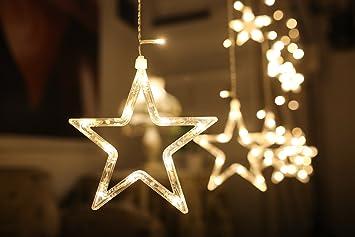 12 Sterne LED Lichtervorhang Lichterkette Lang Sterne Farbwechsel ...