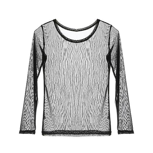 298634493e4 Amazon.com  Women s Transparent Round Neck Long Sleeve Blouse Shirt ...