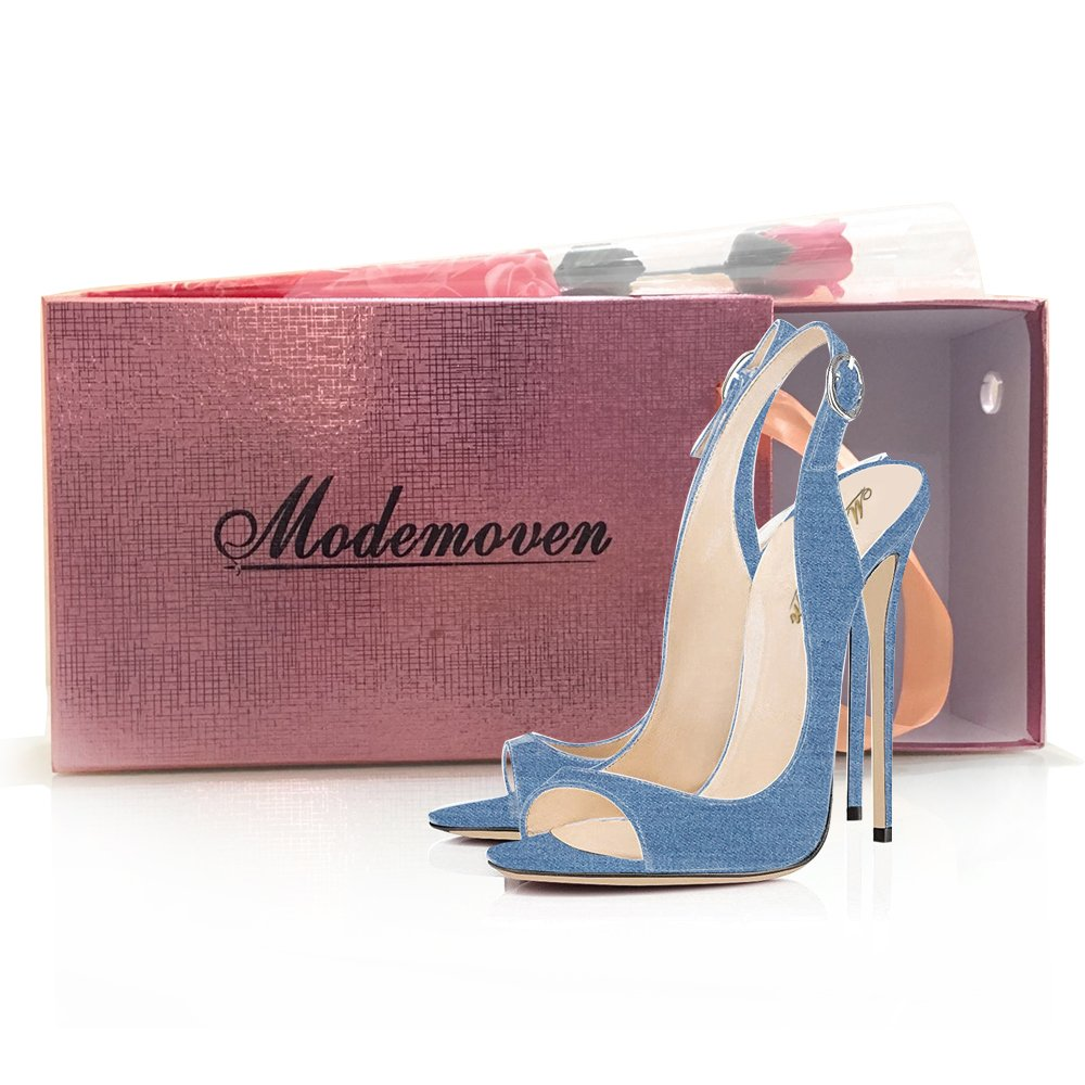 Modemoven Women's Patent Leather Pumps,Peep Toe Heels,Slingback Sandals,Evening Shoes,Cute Stilettos B0733JTCQJ 9.5 B(M) US|Light Blue Denim