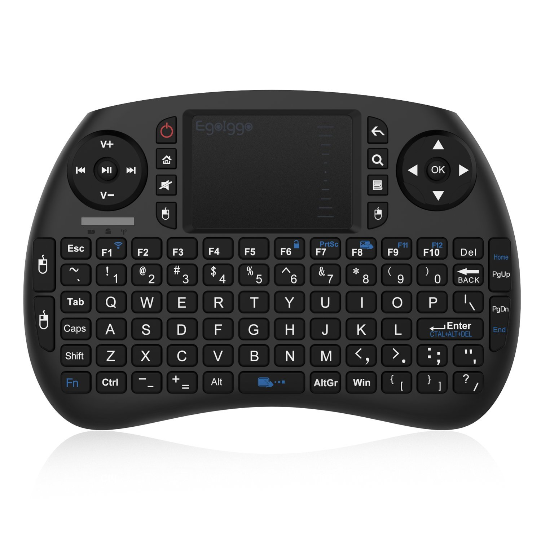 EgoIggo 2.4GHz Mini teclado inalámbrico Touchpad ratón compatible con Raspberry Pi Android Box,Google Box,Pad PC Smart TV control remoto (Negro)