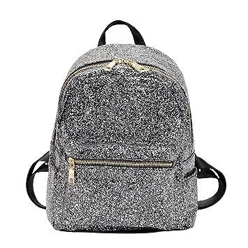 Demiawaking Girls Womens Glitter Backpack School Bags Small Sequins Bling  Travel Rucksack Casual Book Bags Satchel cfa7de45a805