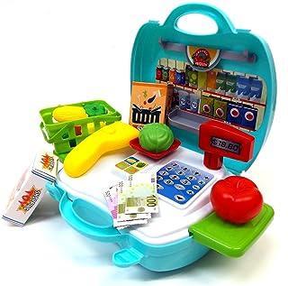 Brigamo 560–Giocattolo Bio negozio to go in valigetta con registratore di cassa e giocattolo frutta e verdura