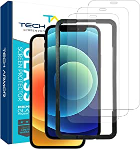 "Tech Armor Ballistic Glass Screen Protector for Apple NEW iPhone 12 (6.1"") and iPhone 12 Pro (6.1"") - Case-Friendly Tempered Glass [3-Pack],Haptic Touch Accurate Designed for iPhone 12/iPhone 12 Pro (6.1"")"