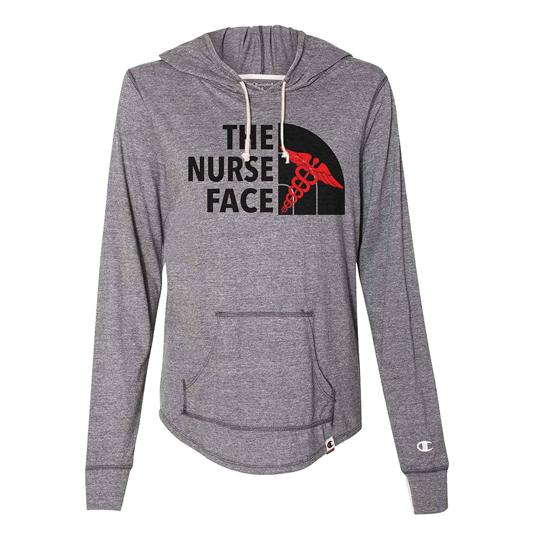 "57135dafc Amazon.com: Cute Women's Champion Hoodie ""The Nurse Face"" Light Weight  Sweatshirt - North Face - Nurse Gift: Clothing"