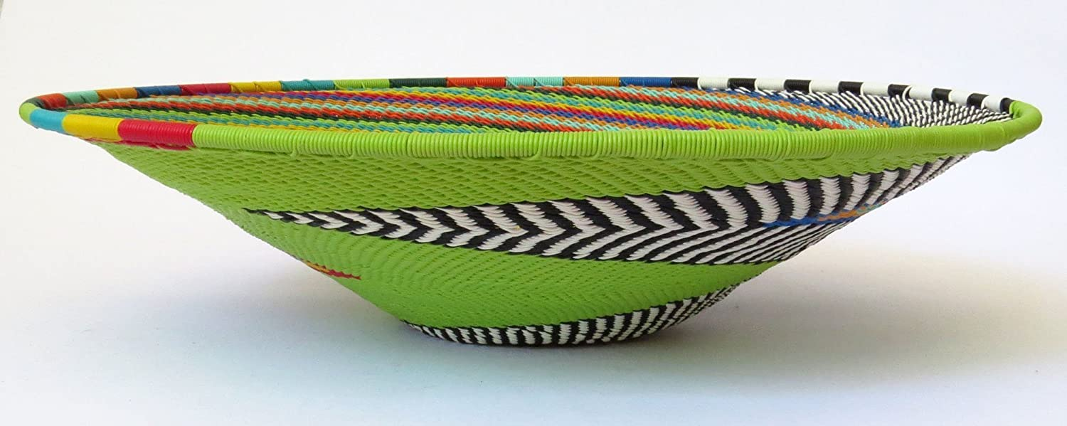 African Zulu woven telephone wire bowl Medium shallow bowl Green and multicolour Gift from Africa