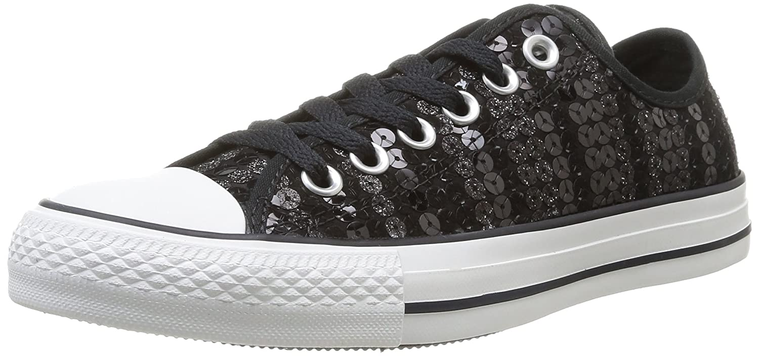 98423835877b Converse Womens Chuck Taylor All Star Femme Sequin Shine OX Trainers 382340  8 Black White 5.5 UK