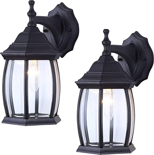 2 Pack of Exterior Outdoor Light Fixture Wall Lantern Sconce Clear Curved Beveled Glass, Textured Black