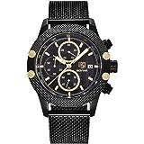 Bernsuisse BENYAR Japanese Quartz Chronograph Waterproof Stainless Steel Mesh Band Wristwatch for Men 5109 - Black Gold