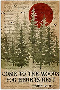Ananas Pru Come to The Wood for HERE is Rest Forest Watercolor Painting John MUIR Quote Vintage Retro Art Wall Decor NO Frame Poster, Camping Poster, Wanderlust Poster