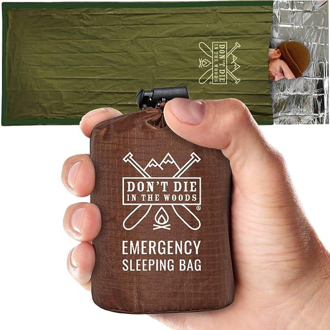QKFON Emergency Sleeping Bag Thermal Waterproof PE Mummy Sleeping Bags Reflective Bivy Bags for Outdoor Survival Hiking Camping 82.7X35.4 Inch