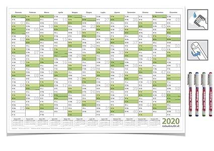 Kalender neu abwischbar grün 2020/DIN A2 con 4 pennarello ...