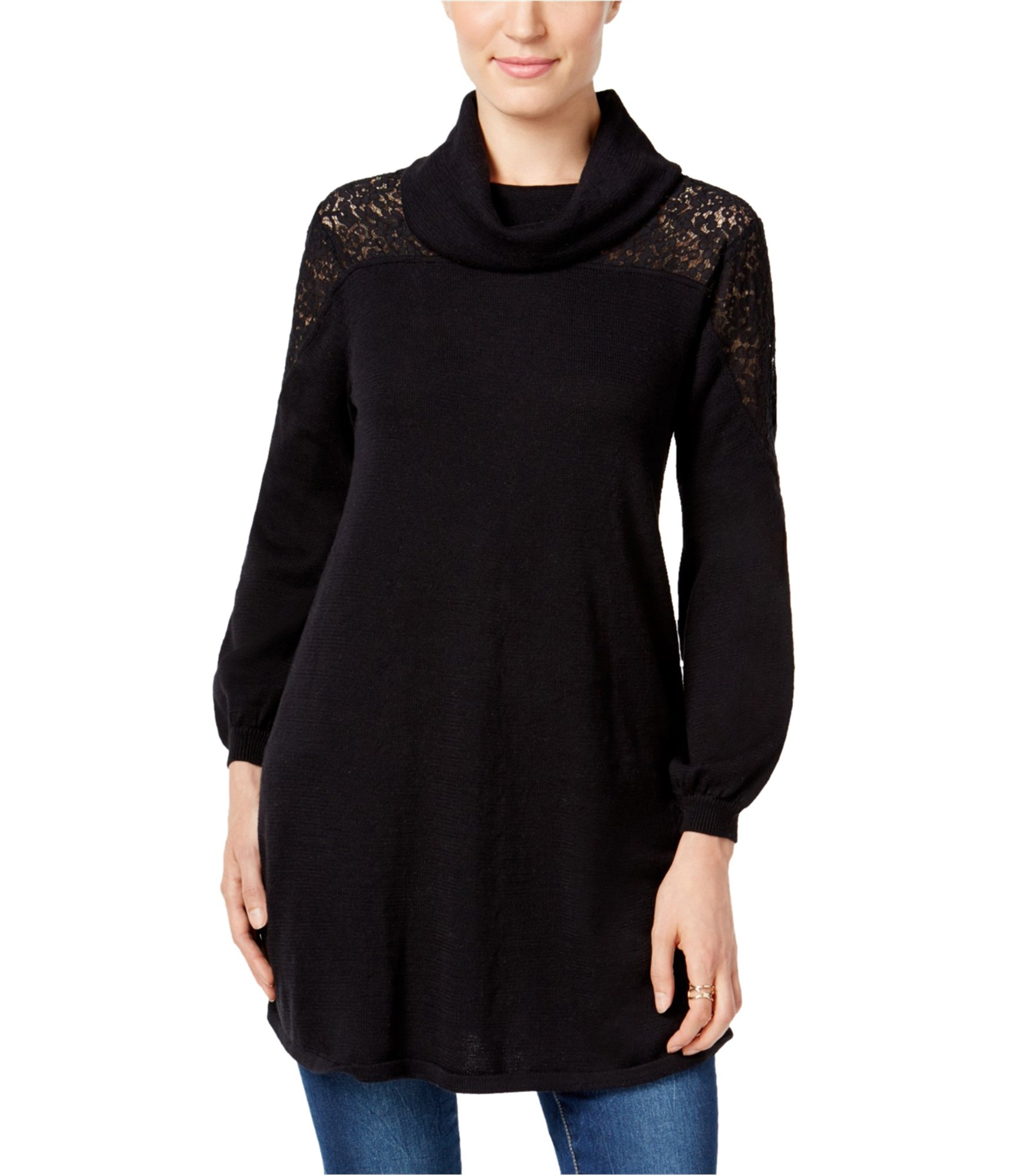Style & Co. Women's Black Lace Cowl-Neck Pullover Sweater PL