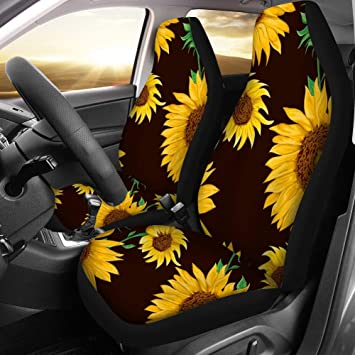Sedan Fit Most Vehicle Van Decor SUV chaqlin Retro Sunflower Front Seat Covers 2 pc,Vehicle Seat Protector Car Mat Covers Truck Cars