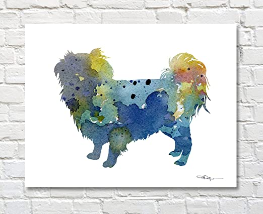 Japanese Chin Abstract Watercolor Painting Art Print by Artist DJ Rogers