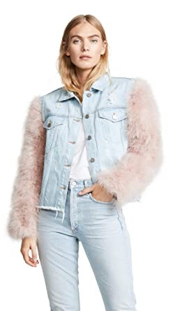 856ae9f65b Jocelyn Women s Cropped Denim Jacket with Detachable Feather Sleeves ...