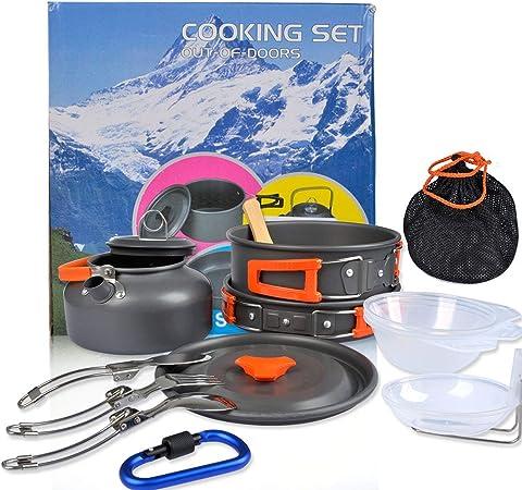 OFNMY Kit de 17pcs Utensilios Cocina Camping - Utensilios para Hoguera de Acampada Ollas y Sartenes de Acampada para Camping, para Picnic, Senderismo, ...