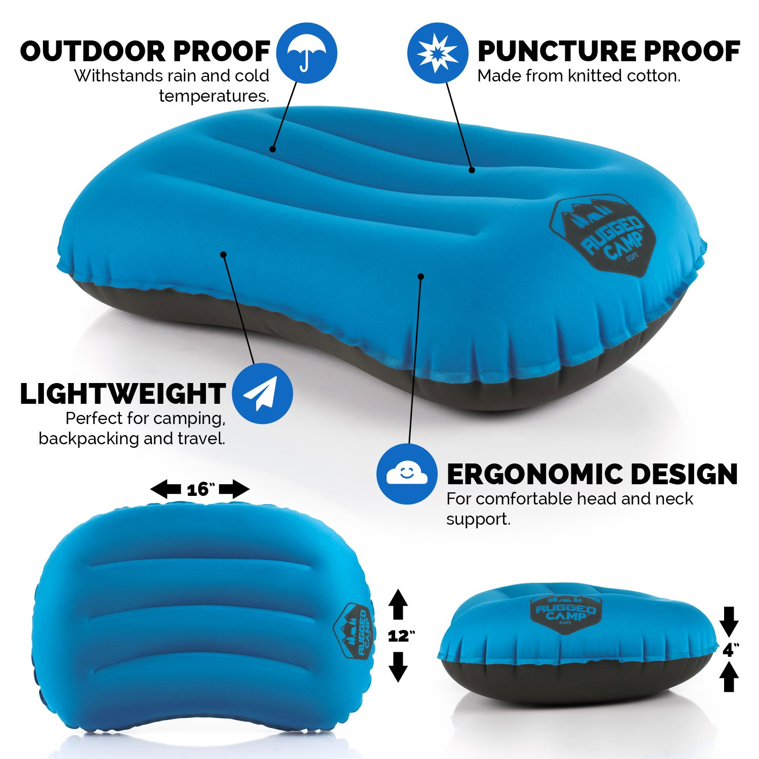 Inflatable Travel / Camping Pillows. Ergonomic Head and Neck Support