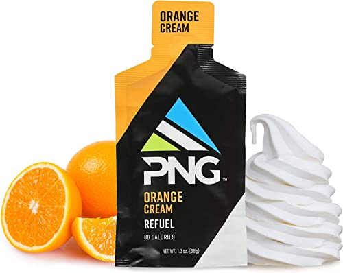 PNG Sports Refuel Energy Gel Pack – Endurance Energy Gels, Isotonic, Energy Nutrition Gel with Electrolytes, No Caffeine – Orange, 24 Pack