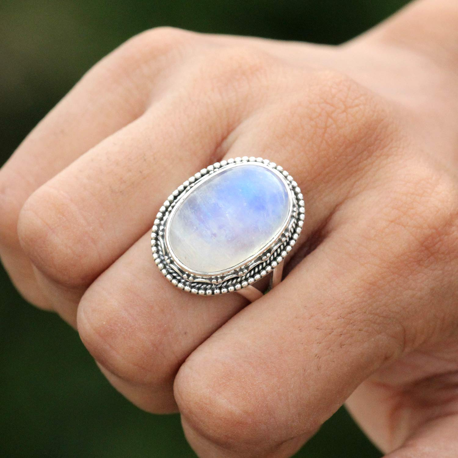 Moonstone Ring Blue Fire Stone Cocktail Jewelry Womens Fashion jewelry Victorian Ring Statement jewelry