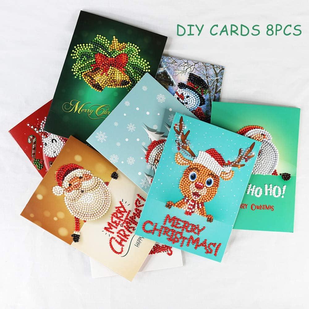 CUTEY 8 Pack de Chrismas Tarjetas, 5D Pintura de DIY Hecho a Mano Tarjetas, Creativo, Etiquetas engomadas de la Navidad Bordado de Punto de Cruz decoración del hogar: Amazon.es: Hogar
