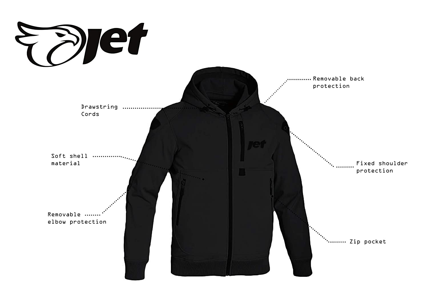 JET Motorcycle Motorbike Protective Jacket Black and Grey Hoody Armoured Soft Shell L , Black 40-42