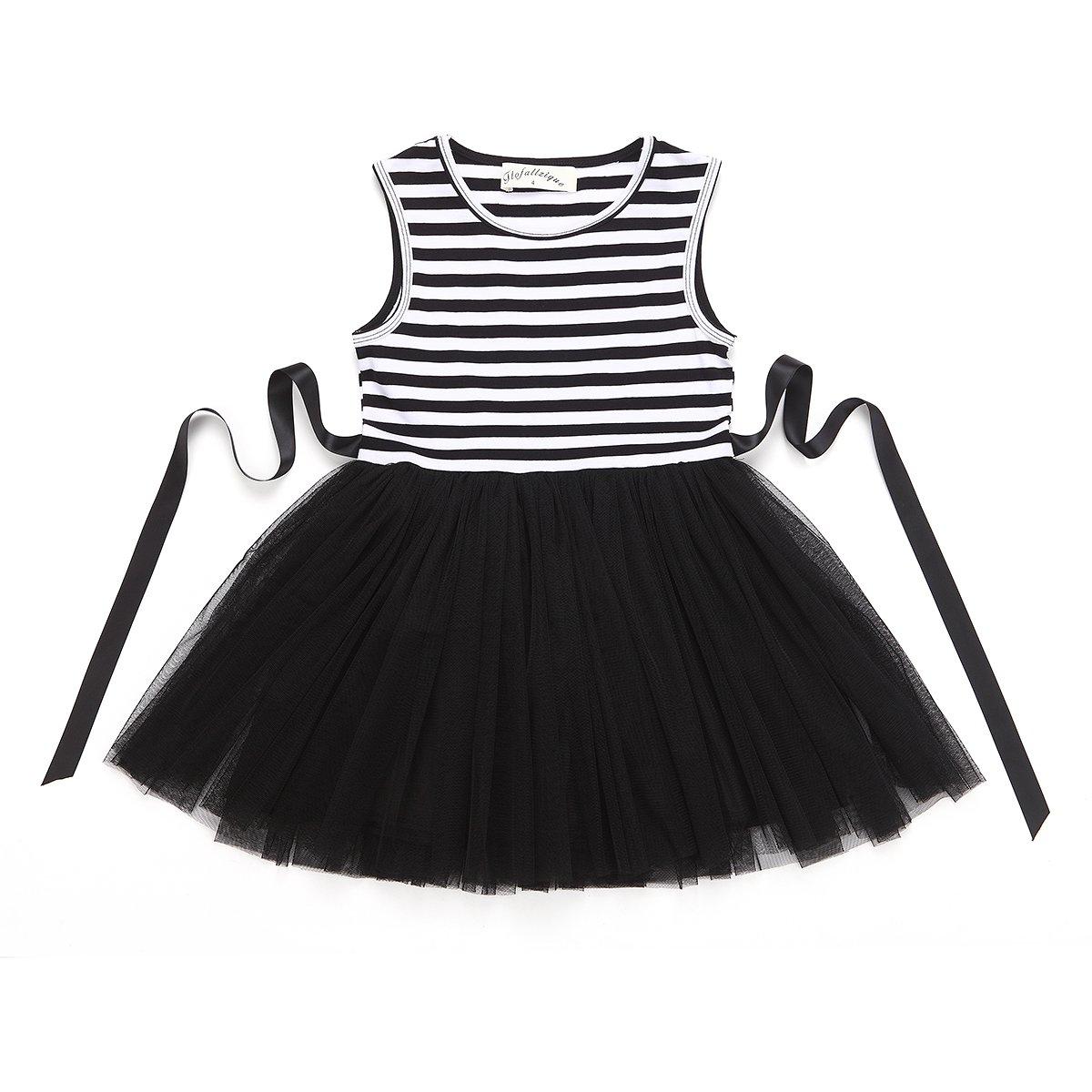 Flofallzique Toddler Girl Dress Striped Tulle Tutu Baby Party Dress Summer Dress for Kids(7, Black)