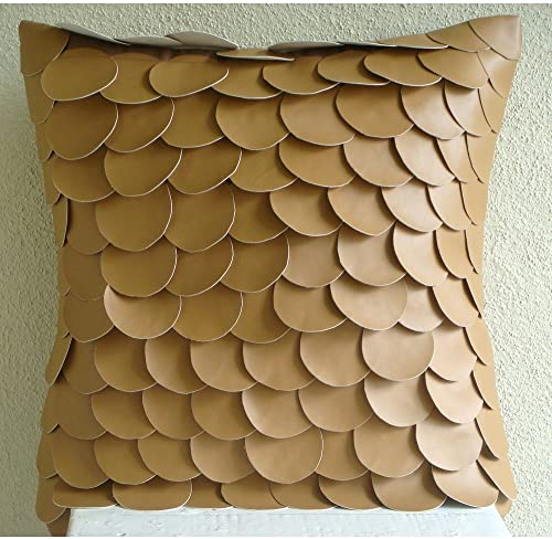 The HomeCentric Decorative Brown Euro Pillow Shams 26×26 inch 65×65 cm , Faux Leather European Pillow Shams, Circles Dots, Mermaid, Sequins Embellished, Modern Euro Shams – Scales