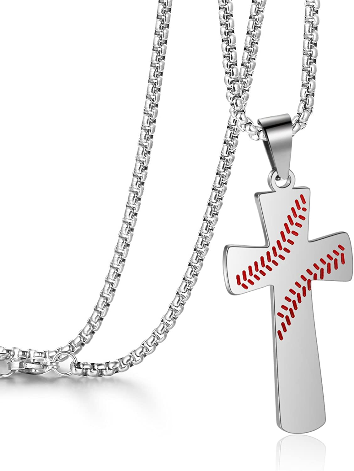 Cross Necklace for Men Baseball Pendant I CAN DO ALL THINGS STRENGTH Bible Verse Stainless Steel Necklace
