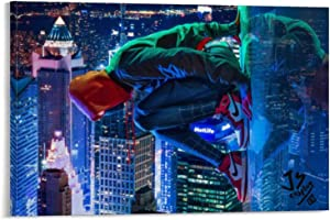 YuFeng Art Inn Modern Wall Poster Art Print Oil Painting on Canvas Home Decor Wall Decoration Canvas Art Reprint For Miles Morales Spiderman The SpiderVerse Poster Wall (Framed-Ready to Hang,16x24inch)