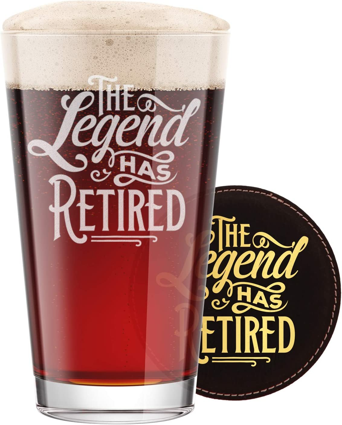 BadBananas The Legend Has Retired - Funny Retirement Gifts For Men - 16 oz Engraved Pint Beer Glass with Etched Coaster - Retiring Gift Present for Men Women Boss Coworker