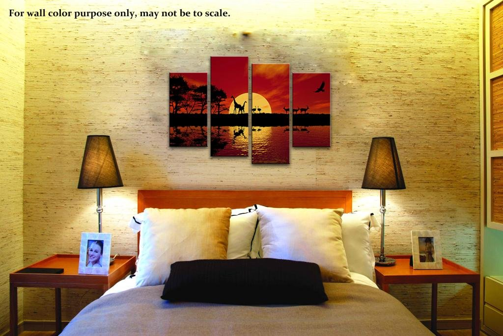 Amazon.com: Wieco Art Large 4 Panels Sunset African Red Tone Giclee ...
