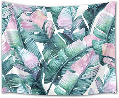 LB Banana Leaves Tapestry Watercolor Palm Leaf Wall Hanging Tropical Exotic Foliage in Jungle Tapestries for Bedroom Living Room Dorm Party Wall Decor,92.5Wx70.9H inches