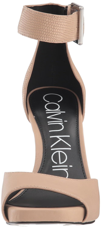 Calvin Klein Women's Marinda Pump B07C9Q6S24 11 B(M) US|Desert Sand Leather/Shiny Lizard