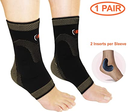 3a629232ed NeoAlly Ankle Compression Brace with Silicone Gel and Anti-Microbial Copper  Ankle and Foot Support for Plantar Fasciitis Achilles Tendon Pain Ankle  Swelling ...