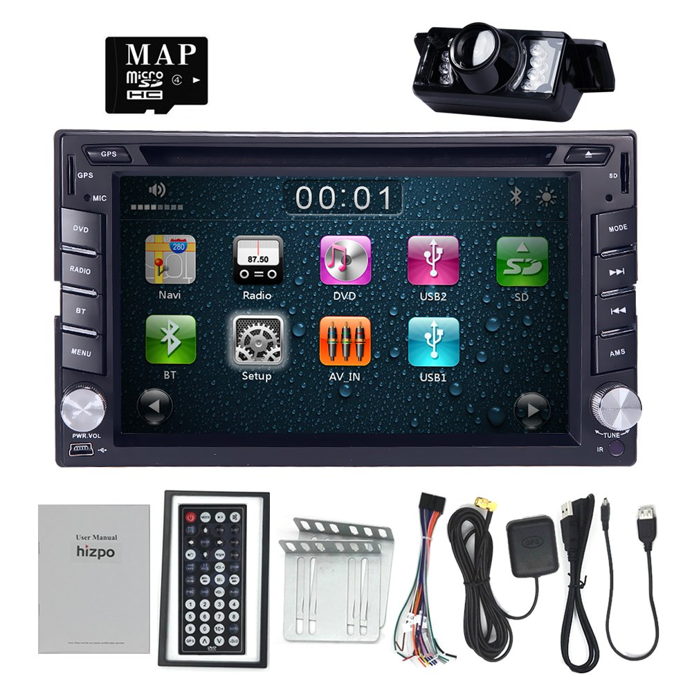 HIZPO 6.2 Inch Universal Double 2 Din In Dash Car CD DVD Player GPS Stereo Radio BT USB IPOD RDS 3G + FREE MAP CARD + Reverse Camera by HIZPO