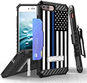Beyond Cell TriShield Series Compatible with iPhone 8 Plus, iPhone 7 Plus Slim Military Grade Shockproof Protection Phone Case with Belt Clip Holster - Thin Blue Line