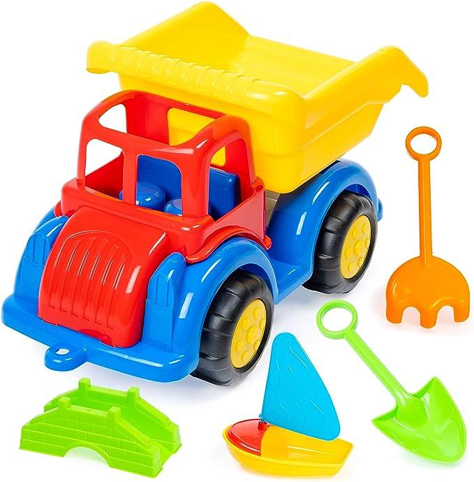 6 teiliges Strand Muldenkipper Set perfektes Spielzeug für Strand, Sandkasten spielzeug, sandspielzeuge bagger lkw und kipper set, Park Spieplatz