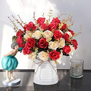 Artificial Rose Bouquets and Ceramic vases, Fake Silk Roses, Suitable for Wedding, Dining Table, Office, Party and Home Decoration(red)