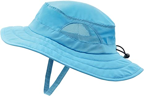 Manzzy Children Bucket Hat Summer UV Sun Hat Foldable Wide Cap for 2-4 Years Old