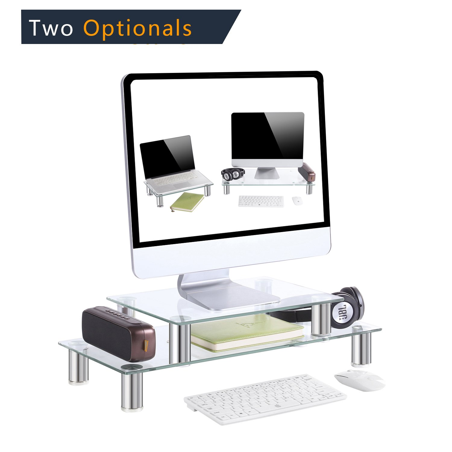 TAVR Multifunction 2 or 1 tier Variable Assembling Monitor Stand / Riser Desktop Shelf Organizers with Height Adjustable for Home Office Clear Tempered Glass,CM2003