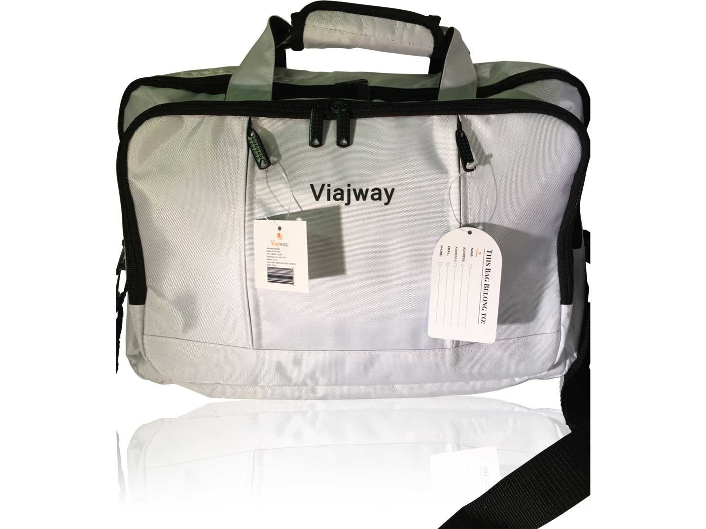 Viajway Multi-Functional Briefcase Backpack Travel Bag and Laptop Bag, White
