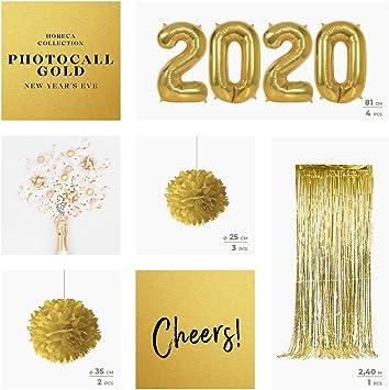 Horeca Collection [Pack Ahorro Photocall Nochevieja 2020 Luxury Pack- Color Oro - Incluye Globos Metalizados Oro 2020, Cortina Metalizada Foil y Lámparas Papel ...