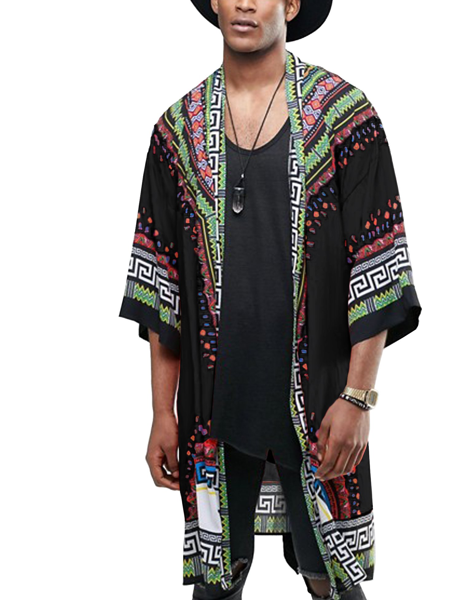 COOFANDY Mens Hipster Hip Hop 3/4 Sleeve African Dashiki Printed Ruffle Shawl Collar Cardigan Top with Belt,Black,Medium