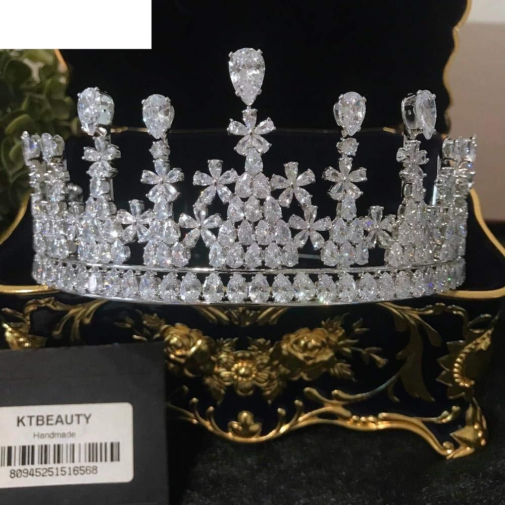 Women Girls Diamond Silver Zircon Crown Tiara Diadem D Large Crown Crown Tiara Crown Royal Bride Bridesmaid Wedding Dress Jewelry Women R5Tret2