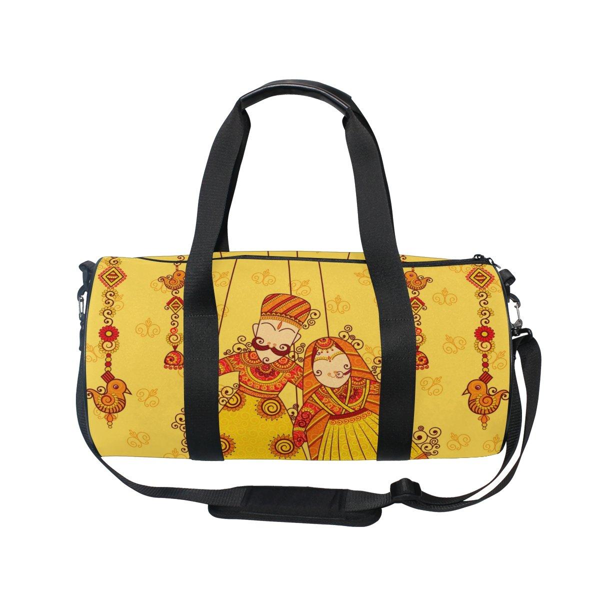 U LIFE Vintage Indian Lotus Wedding Sports Gym Shoulder Handy Duffel Bags
