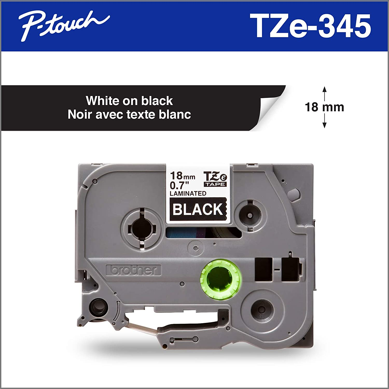 4 PK TZe-345 TZ-345 White on Black 3//4/'/' Label Tape for Brother P-Touch PT-H300