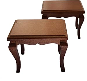 Inusitus Set of 2 Wooden Dollhouse Coffee Tables - Dolls House Miniature Furniture Side Table - 1